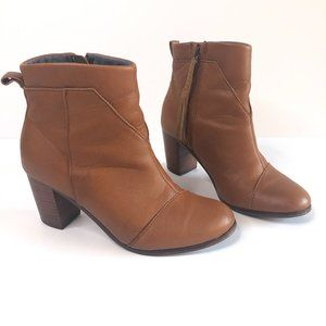 TOMS LUNATA LEATHER ZIP UP ANKLE BOOTS BOOTIES 7.5